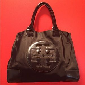 Tory Burch Ella Large Black Nylon Tote